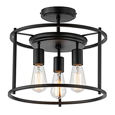 COTULIN 14 Inch Black Farmhouse Semi Flush Mount Ceiling Light,Industrial Ceiling Light Fixture with Metal Cage Shade for Hallway Kitchen Dining Room,3-Light Rustic Lighting Fixture