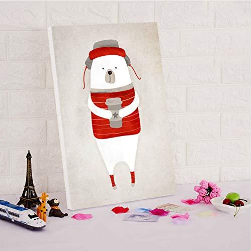 Dirart Frameloos digitaal schilderij leuke beer met hoed digitale kleur door cijfers digitaal schilderij teken- praktijk voor kinderen 40X60cm