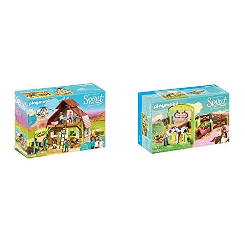 PLAYMOBIL Spirit Riding Free Barn with Lucky, PRU & Abigail & Spirit Riding Free Abigail & Boomerang with Horse Stall