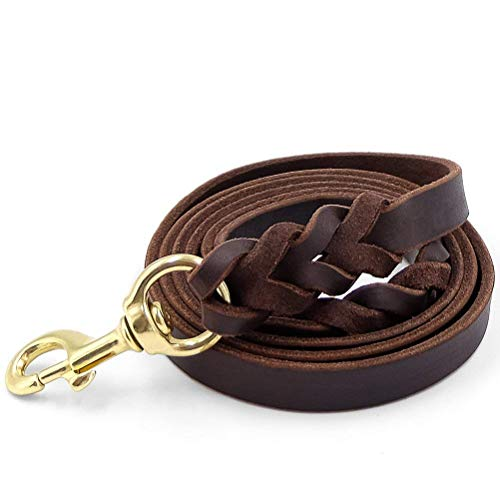 """Fairwin Leather Dog Leash 6 Foot - Braided Heavy Duty Training Leash for Large Medium Small Dogs Running and Walking (L:Width:3/4"""", Brown)"""