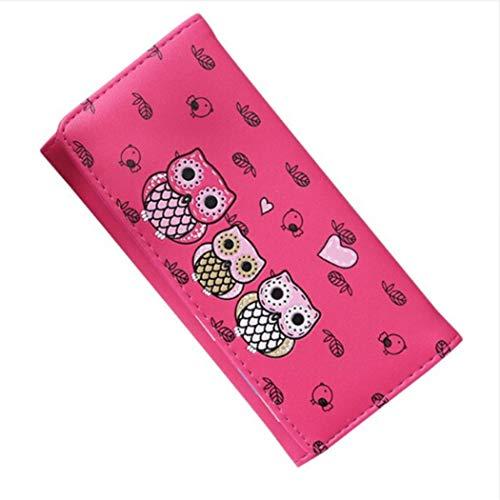 Eleusine Cute Cartoon Owl Imprimé Pliable Long Portefeuille Porte-Monnaie Organisateur Poche Petit Porte-Carte de Crédit Rose Rouge