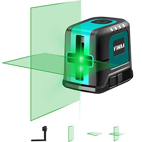 Nivel láser verde 45 m, Carga USB, Módulo de Dos Láser Puntos Horizontales y verticales Nivel láser autonivelante, Función de pulso, Base magnética giratoria incluida, IP54