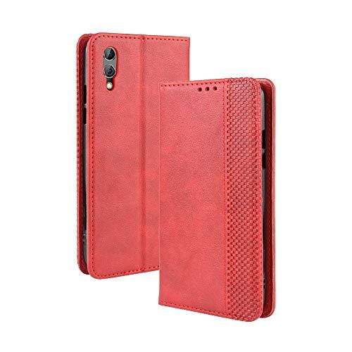 LAGUI Kompatible für Xiaomi Black Shark 2/2 pro Hülle, Leder Flip Hülle Schutzhülle für Handy mit Kartenfach Stand & Magnet Funktion als Brieftasche, rot