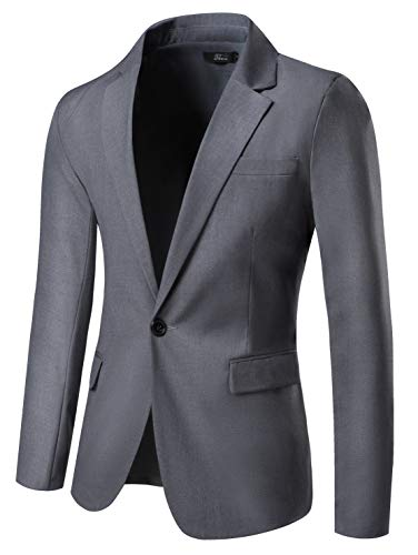 THWEI Mens Slim Fit Blazer One Button Blazer Casual Suits Sport Coats Business Daily Blazer(Gray-M)