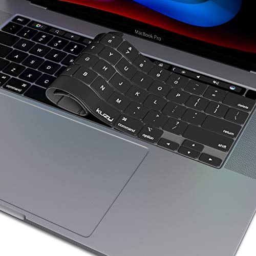 Kuzy New MacBook Pro 13 inch Keyboard Cover 2020 A2289 and MacBook Pro 16 inch Keyboard Cover 2019 A2141 Silicone Key Board Skin Thin Protector for MacBook Pro Keyboard Cover with Touch Bar, Black