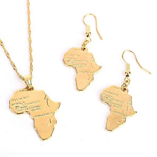QAZQAZ Conjunto de joyería de mapa de África de color dorado conjuntos de collar y pendientes para collar con colgante de mapa de boda africano, regalo para hombres y mujeres