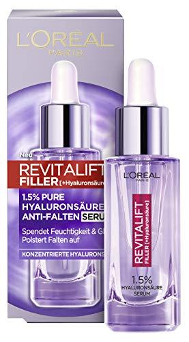 L'Oréal Paris Revitalift Filler Hyaluronsäure Serum, Anti-Falten Serum mit 1,5% purer Hyaluronsäure, Hyaluron-Gesichtspflege, glättet Falten und polstert auf, 30 ml