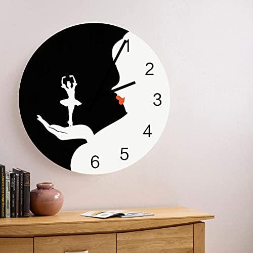 Reloj de pared de madera redondo silencioso sin tictac de 10 pulgadas para mujer, bailarina de ballet, números romanos, reloj de manos, decoración del hogar para cocina, sala de estar, dormitorio, gra