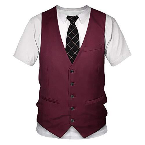 UNDERZY Unisex Camiseta Estampada Falso 3D Traje para Hombres Camiseta con Impresión 3D Tuxedo Studo Bowt Late Strena Corte Ropa De Calle Camiseta De Traje Falso-T4_110_Porcelana