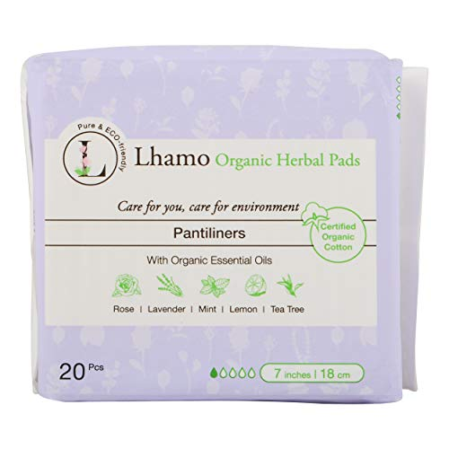 Lhamo Organic Cotton Panty Liners with Natural Herbal Essences - Feminine Care, Menstrual and Period Products, Sanitary Napkins, Ultra Thin, 20 Count