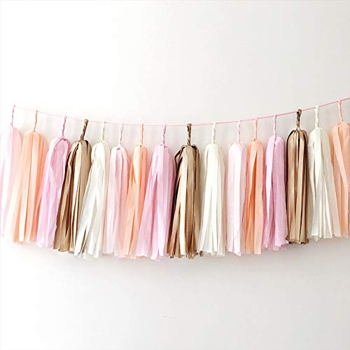 GUZON 25 PCS DIY Tassel Garland Tissue Paper Tassel Banner Pompom for Wedding, Bachelorette, Baby Shower Christmas, Birthday Home Decorations