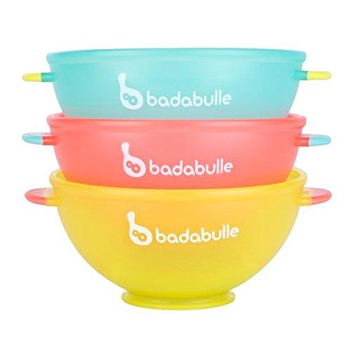 Badabulle B005103 Breischalen, Schalen für Babybrei und Beikost, stapelbar, für Mikrowellen und Spülmaschinen geeignet, 3er Set mehrfarbig