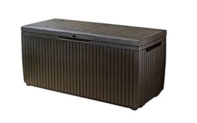 Keter Springwood 80 Gallon Resin Outdoor Storage Box for Patio Furniture Cushions, Pool Toys, and Garden Tools with Handles, Brown