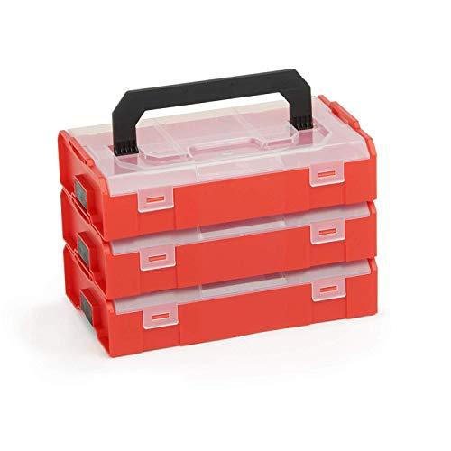 L-BOX Mini Set | 3x L BOXX Mini rot mit transparentem Deckel | Sortimentskasten Schrauben und Dübel | Erstklassige Sortierboxen für Kleinteile
