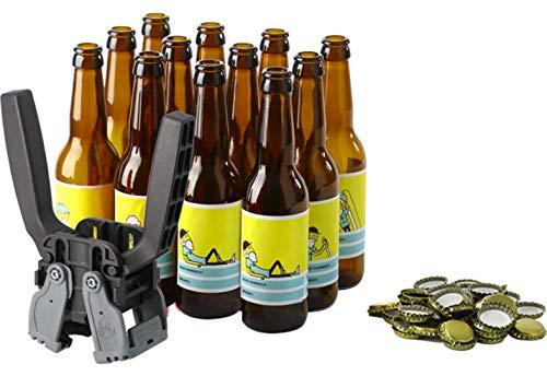 Kit d'embouteillage Complet - Kit composé de 12 Bouteilles de 33cl, de 12 étiquettes Personnalisables, de 100 Capsules et d'une Capsuleuse Kelly 26 mm