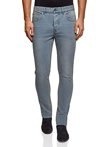 oodji Ultra Uomo Jeans Slim Fit a Vita Media, Blu, 33W / 34L