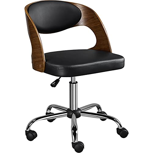 Yaheetech Modern Office Chair Black Leather Swivel Chair Comfy Computer Chair with Solid Bentwood Back Soft Breathable Seat for Home Office