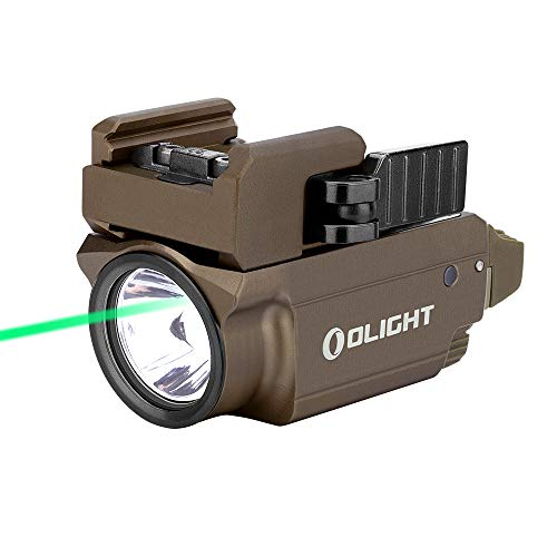 OLIGHT Baldr Mini 600 Lumens Magnetic USB Rechargeable Weaponlight with Green Beam and White LED Combo, Compact Rail Mount Tactical Flashlight with Adjustable Rail(Desert Tan)