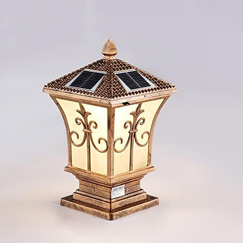 Bonnik Outdoor IP65 wasserdichte Säulenlampe LED Solarsäulenleuchte Viktorianischer Gartenzaun Eingang Stigma Lampe Traditionelle Rasenpollerleuchte Aluminium Landschaftsstraßenlaterne [A+++]