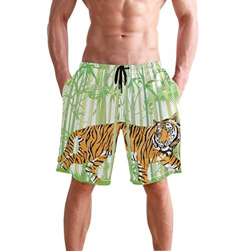 Bañador de Playa para Hombre, Tiger in The Bamboo Jungle, bañador Tipo bóxer, Ropa Interior, bañador con Bolsillo, Talla L