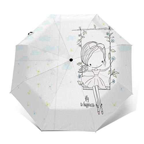 Paraguas Plegable Automático Impermeable Columpio bebé niña, Paraguas De Viaje Compacto a...