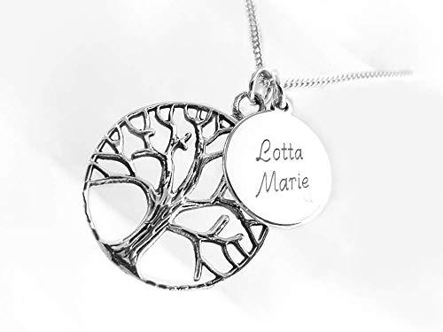 Kette mit zwei Anhängern, Baum des Lebens & Kleine Gravur - Platte, 925 Silber, Wunschgravur