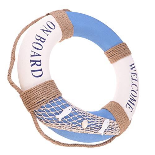 KESYOO Rettungsring Welcome Aboard Türschild Willkommen Schild mediterraner Stil Reifen Maritime Dekoration zum Aufhängen Badezimmer Bar Fenster Hintergrund 50 cm Blau Fisch