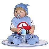 BEIAKE Bebé Reborn Realista con Mono De Coche Azul Modelo De Disfraz Accesorios De Fotografía 0-3 Meses 57Cm