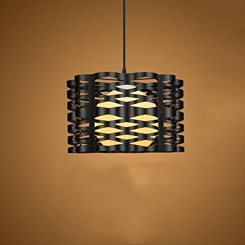 LHTCZZB Retro Hollow Birdcage Industrial montaje empotrado lámpara de luz de techo lámpara con decoración de sombra de cristal Restaurante Hot Pot Shop Barbería Tienda de té (Color : Negro)