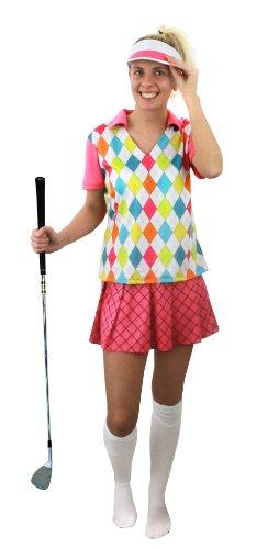 I LOVE FANCY DRESS LTD Frauen Golf KOSTÜM VERKLEIDUNG=3 TEILIG -Oberteil+Rock+Kappe=100% Polyester= SEXY Golfer Frau=Fasching Karneval =OHNE KNIESTRÜMPFE-SMALL