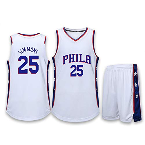 YENDZ 76ers No. 25 Simmons, Traje de Camiseta de Baloncesto para Hombre, (Jersey + Shorts) 4XL White