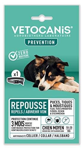 Vétocanis - Collier Répulsif Puces Tiques Moustiques - Protection 3 mois - Chien de 10 à 20 kg - Extraits Naturels Margosa et Lavandin