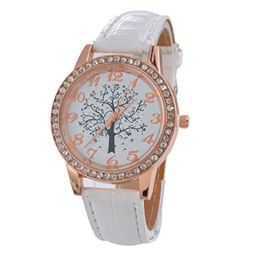 Loweryeah Artificial Leather Round Dial Life Tree Thinestone Quartz Wrist Watch White