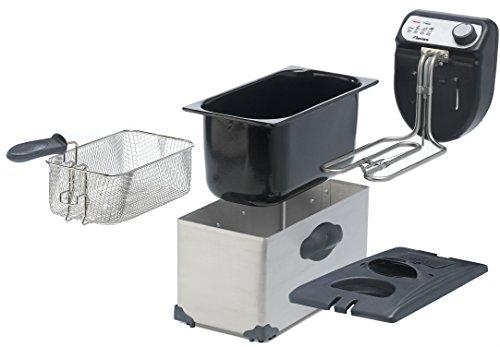 Bestron Friteuse Zone froide, Pour 1 kg de frites, 3,5 litres, 2200 W, Inox