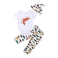 Newborn Infant Baby Girls Boys Daddy's Fishing Buddy Romper Bodysuit Fish Pants Hat 3Pcs Summer Outfit (6-12M, B)