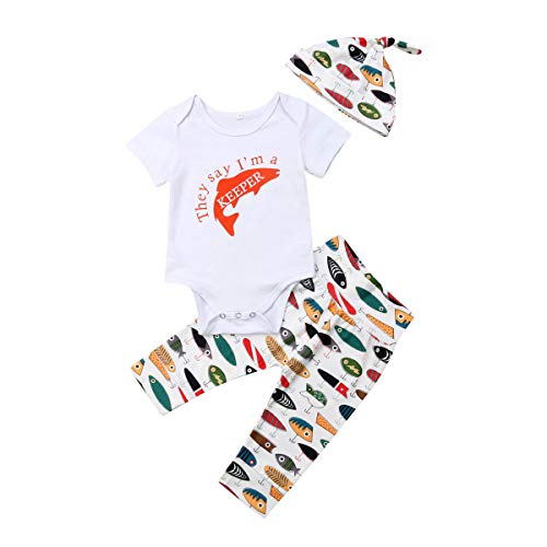 Newborn Infant Baby Girls Boys Daddys Fishing Buddy Romper Bodysuit Fish Pants Hat 3Pcs Summer Outfit (6-12M, B)