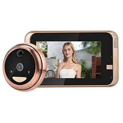 Lazmin Timbre con Video WiFi, 4.3 Pulgadas 720P HD Kit de cámara de Visor de Puerta inalámbrico Resistente a la Intemperie, Gran Angular de 166 °, Detección de Movimiento PIR, Visión Nocturna