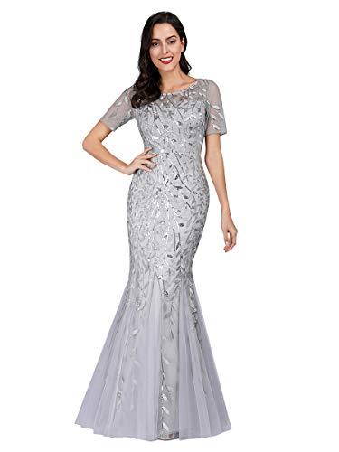 Ever-Pretty Women's Elegant Short Sleeves Long Mermaid Sequin Tulle Evening Dresses Silver 8UK