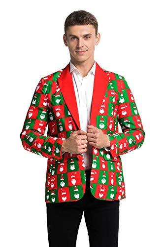 U LOOK UGLY TODAY Chaqueta de fiesta para hombre, chaqueta de chándal para Navidad, disfraz festivo con divertidos estampados, multicolor Papá Noel verde. S
