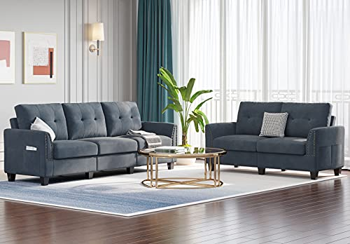 Belffin Sofa and Loveseat Sets 2 Piece Furniture Sofa Set for Living Room Couch Sofa Loveseat Set Bluish Grey