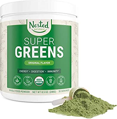 Super Greens | #1 Green Superfood Powder | 100% USDA Organic Non-GMO Vegan Supplement | 30 Servings | 20+ Whole Foods (Spirulina, Wheat Grass, Barley), Probiotics, Fiber & Enzymes (Original, 30 Servings) by Nested Naturals