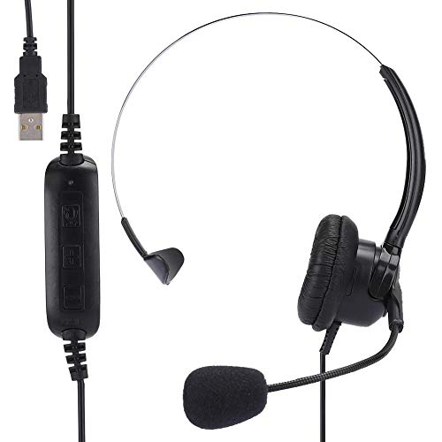 Amazing Deal Black Adjustable Volume Mono-Ear Headset, Support One-Key Mute Earphone, for Online Gam...