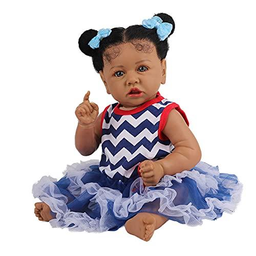 Negro Muñeca Muñeca Lifelike Africano Doll Juguete Afroamericano con Pelo Afro Juegos Interactivos Juegos De Juguete Simulación Bebé Play Doll Regalo De Cumpleaños