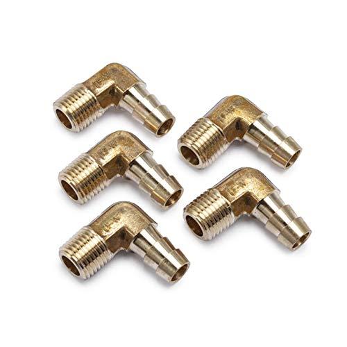 Zxxin-Accesorios de tuberia 90º Codo L Tipo de latón Barb Tubo de Manguera 3/8' Barb X 1/4' NPT Macho de Rosca (Color : Pack of 5pcs)