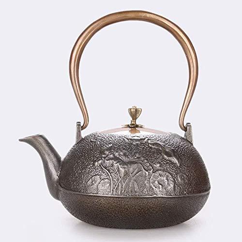 BANANAJOY Tetera, Juegos de té de té Ollas de hierro fundido tetera de té ollas de hierro tetera de hierro Craft original pared interior de la tetera de la libélula Lotus doble de cobre sin recubrimie