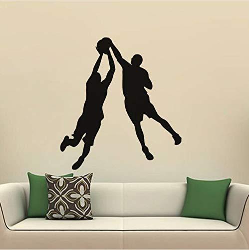 Kyzaa Muursticker voor sport en spel met twee personen en basketbalstickers, decoratie voor slaapkamer, vinyl, waterdicht, zelfklevend