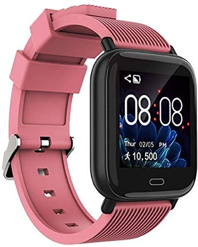 Pulsera inteligente Bluetooth impermeable con detección de frecuencia cardiaca y presión arterial, reloj deportivo con recordatorio inteligente compatible con Android e iOS, color azul y rosa