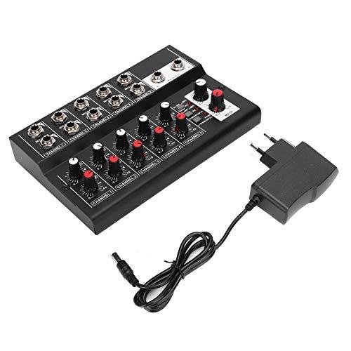 Mezclador de audio, Material de aleación, Mesa de mezclas con 10 canales de entrada y 2 canales de salida, Sonido natural y estéreo, Micrófono, Guitarra, Bajo, Teclado, DC 5V para clubes, bares