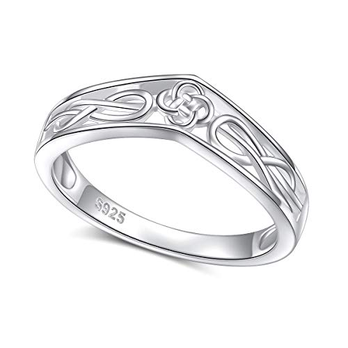 S925 Sterling Silver Jewelry Good Luck Irish Celtic Knot Chevron Thumb Band Ring V Shape Ring Size 7