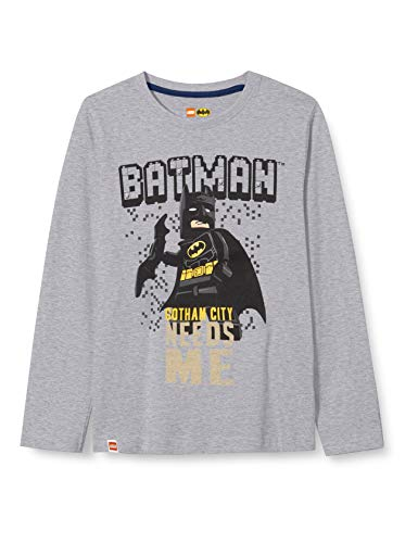 LEGO Jungen MW-Langarmshirt Batman T-Shirt, 921 Grey Melange, 128